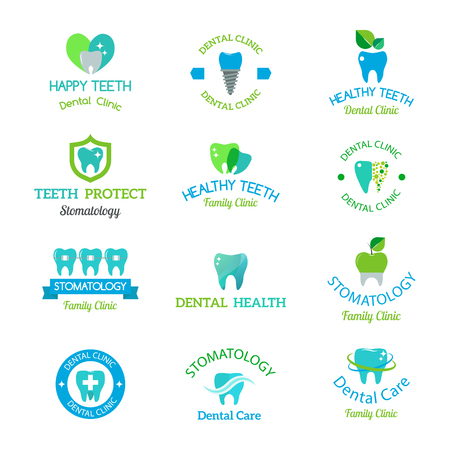 Vector dental stomatology clinic badge icon.