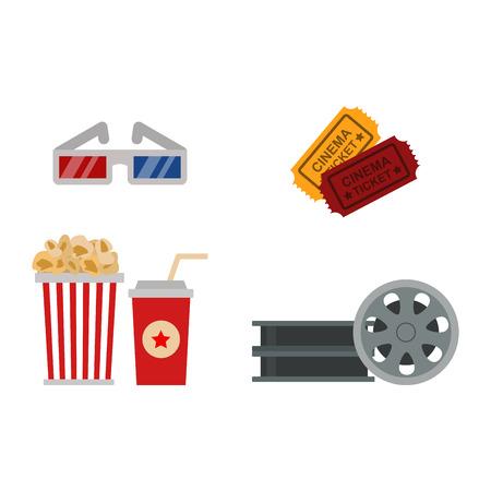 Cinema symbols vector illustration.