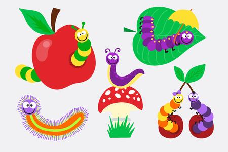 Cartoon caterpillar insect vector illustration.