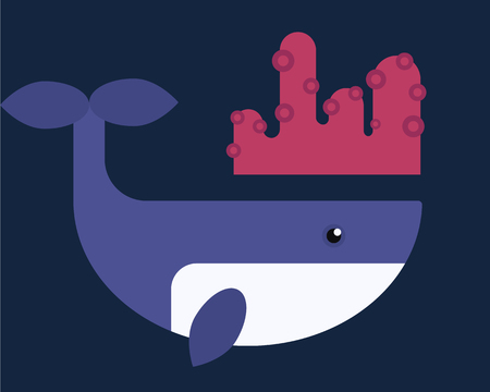 deep blue: Vector whales illustration of marine mammal. Illustration