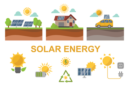 electrical panel: Vector sun solar energy icon symbols electricity technology renewable ecology. Industrial clean electrical alternative panel modern innovation generator.