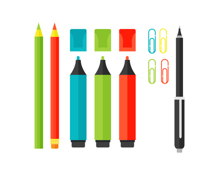 Colored marker school supply highlighters vector illustration.