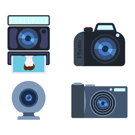 Retro photo camera set vector illustration.