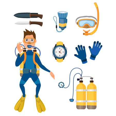 Spearfishing diving equipment vector set.