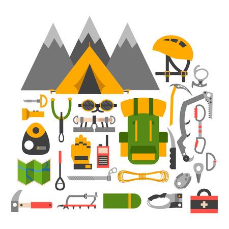 Climbing trekking equipment vector set.