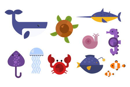horse fish: Sea animals marine life character vector illustration.