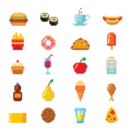 food: Pixel art food computer design icons vector.