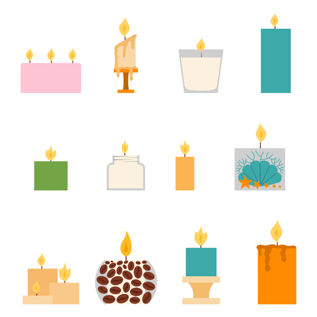 Vector candles romantic wax party decoration.