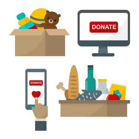 sheltering: Donate help symbols vector illustration
