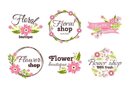 Floral winkel badge decoratieve frame sjabloon vectorillustratie.