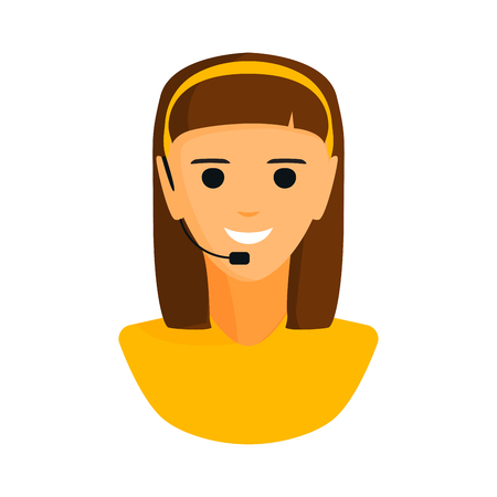 headset business: Dispatcher young smiling woman talking on headphone headset office graphics and business support people professional communication job operator service vector illustration. Illustration