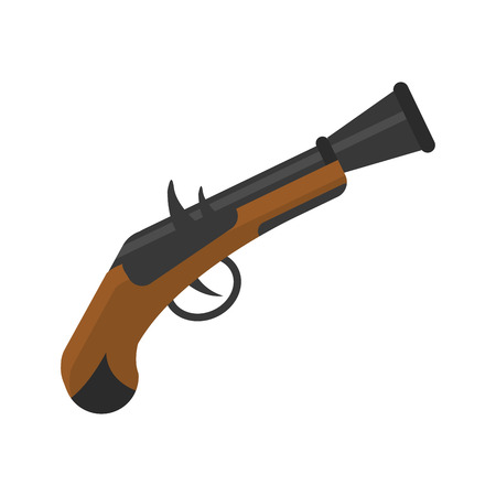 Old pistol gun icon vector illustration.