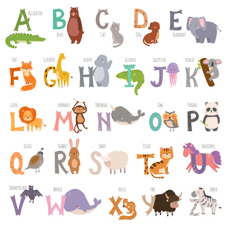 Cute zoo alphabet with cartoon animals isolated on white background and grunge letters wildlife learn typography cute language vector illustration. Ilustracja