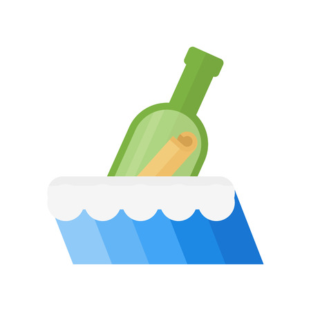 Bottle in sea vector illustration.