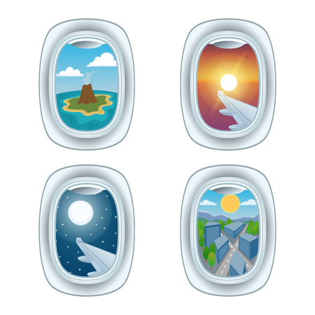 Airplane window view vector illustration. Illustration