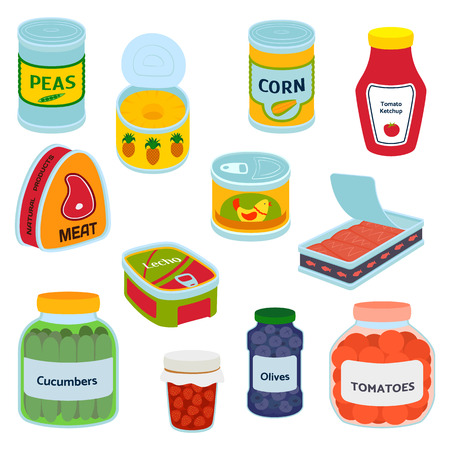Collection of various tins canned goods food metal container grocery store and product, storage, aluminum flat label conserve vector illustration.