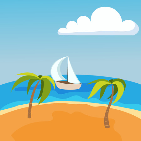Sea landscape with boat on seychelles palm beach summer water beautiful background and tourism tropical beauty scene coast vacation horizon vector illustration. Illustration