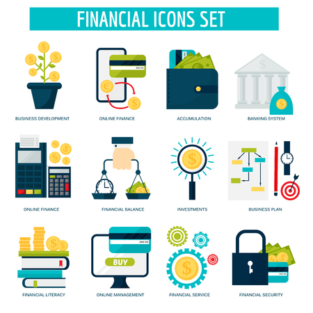Banking money financial services set credit sign development online accumulation and bank investment management service vector illustration.
