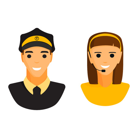 Limo chauffeur taxi driver and dispatcher woman character vector. Illustration