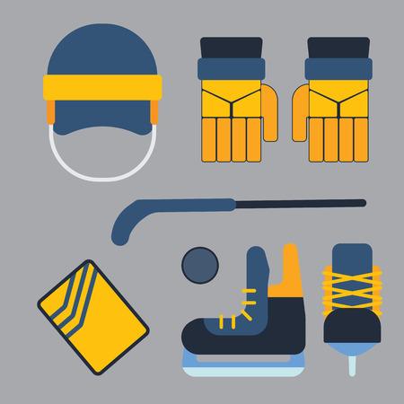 elbow pads: Vector hockey uniform and accessory in flat style.