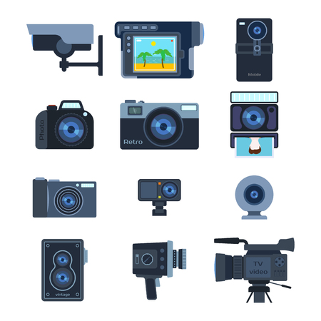 Photograph digital equipment camera vector illustration.