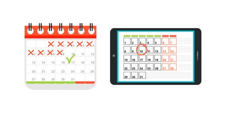 Agenda list calendar vector illustration.