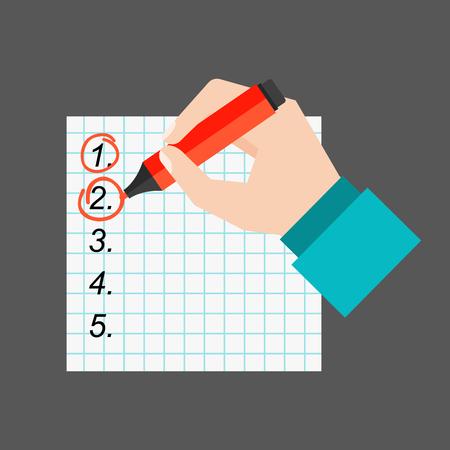 agenda: Agenda list paper vector illustration. Stock Photo