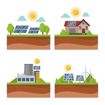 Sun solar energy power electricity technology vector.
