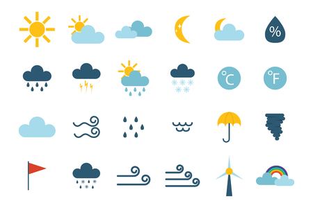 Set of climate forecast weather icons vector. Zdjęcie Seryjne - 72212436
