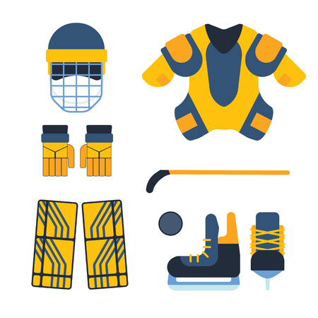 attribution: Vector hockey uniform and accessory in flat style. Isolated equipment athlete attribution clothes. Championship forward professional leisure athlete skating.