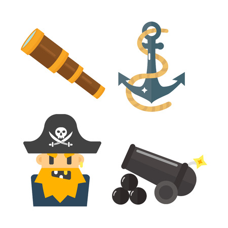 toy chest: Golden age pirate adventures toy accessories pictograms treasures icons children party game set. Abstract vector sword gun sign weapon collection. Illustration