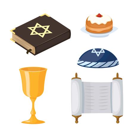 talisman: Judaísmo iglesia tradicional símbolos iconos conjunto aislado jánuca religioso diseño y sinagoga pascua torah menorah vacaciones judío ilustración vectorial.