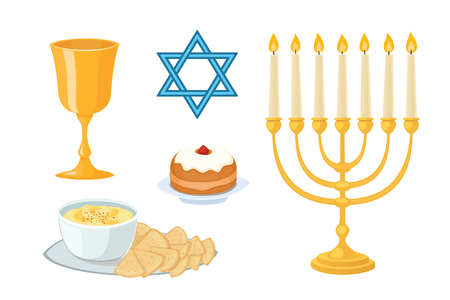 Judaism church traditional symbols icons set isolated hanukkah religious design and synagogue passover torah menorah holiday jew vector illustration.