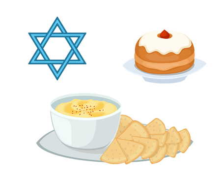shabat: Hummus comida judía aperitivo puré de garbanzos con tahin cocina tradicional comida perejil matzah y vegetariana deliciosa sopa de almuerzo ilustración vectorial.