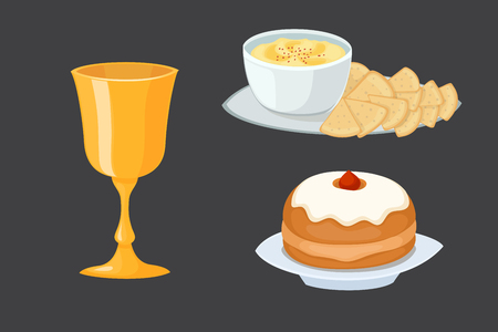 seder plate: Hummus jewish food pie appetizer mashed chickpeas with tahin traditional meal cuisine parsley matzah and vegetarian delicious lunch soup vector illustration.