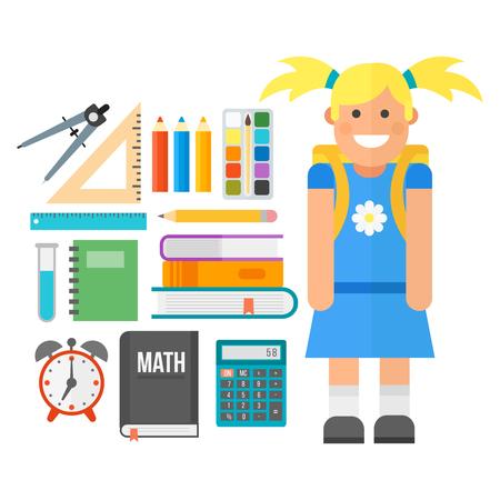 slingshot: School supplies stationery equipment and schoolkid vector illustration.
