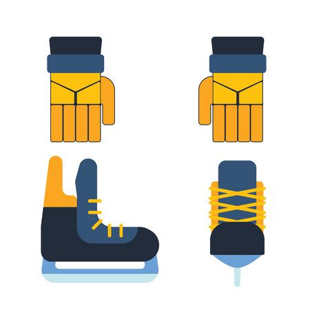 puck: Hockey skates vector illustration ice boots pair.