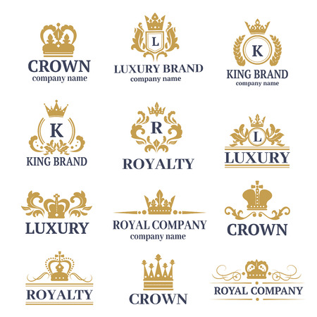 Luxury boutique calligraphy logo best selected collection hotel brand identity and crest heraldry stamp premium insignia design crown vector illustration.