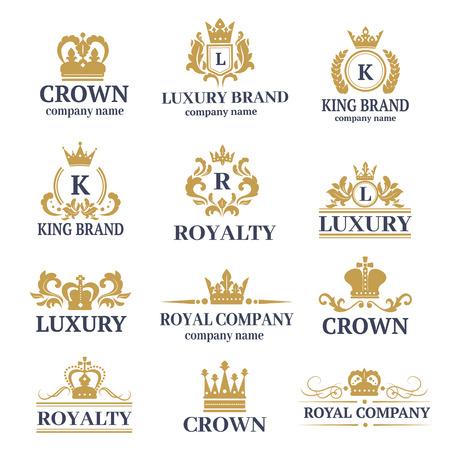 Luxury Boutique calligrafia logo migliore selezionata collezione di hotel di brand identity e cresta araldica premio timbro progettazione insegne illustrazione corona di vettore.