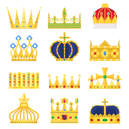 Gold crown of the king icon set nobility majestic collection insignia and imperial prince vintage jewelry kingdom queen royal classic sign vector illustration. Illustration