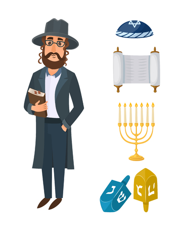 Judaism church traditional symbols isolated hanukkah religious design and synagogue passover hebrew character torah menorah holiday  vector illustration.