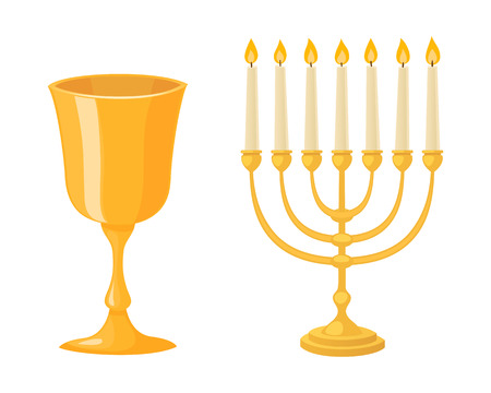 candelabrum: Golden menorah with candles hebrew religion tradition decoration flame and candelabrum hanukkah orthodox   holiday cup vector illustration. Illustration