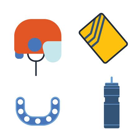 icehockey: Hockey helmet and kappa, water bottle vector illustration. Illustration