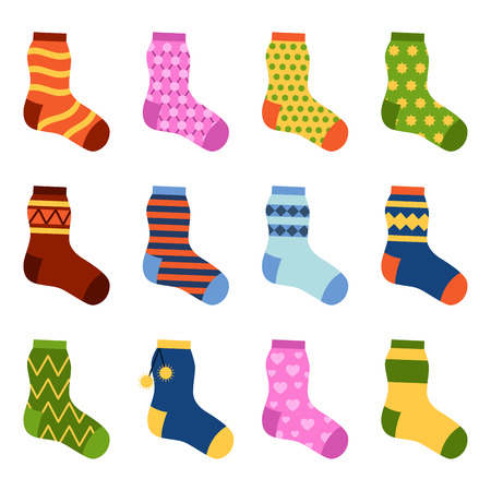 pairs: Flat design colorful socks set vector illustration.