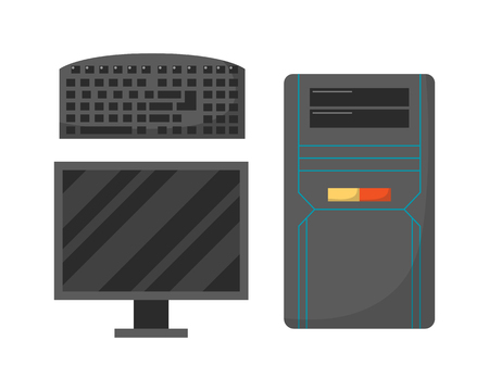 pc monitor: Desktop computer technology isolated icon telecommunication equipment metal pc monitor frame modern office network electronic device space.