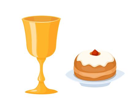 Wine cup used for jewish kiddush shabbat drink judaica metal symbol and kiddush food. Illustration