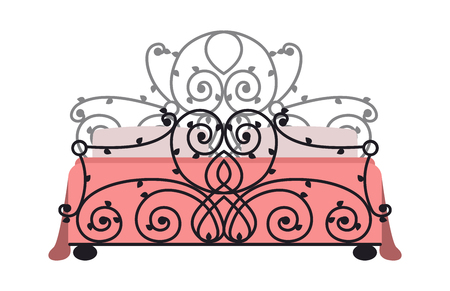 literas: Exclusive sleeping furniture design bedroom fashion bed and interior room comfortable home relaxation apartment decor vector illustration.