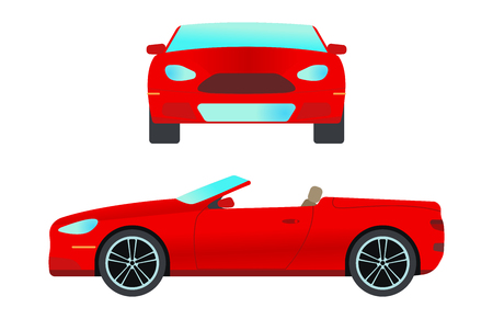Car vehicle cabriolet transport type design travel race model sign technology style and generic automobile contemporary kid toy flat vector illustration isolated icon.