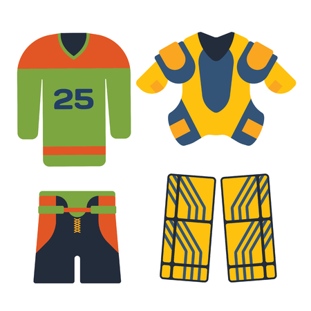 elbow pads: Vector hockey uniform accessory in flat style. Illustration