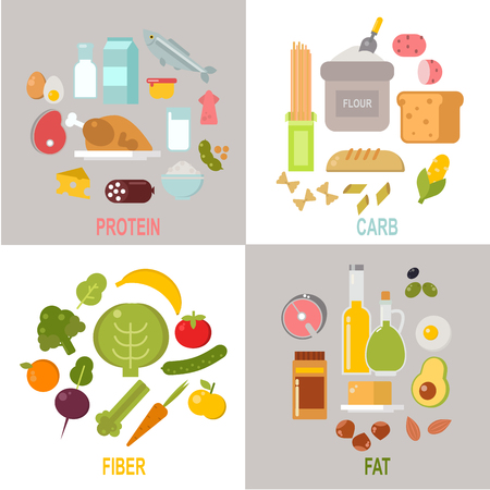 Healthy nutrition, proteins fats carbohydrates balanced diet vector